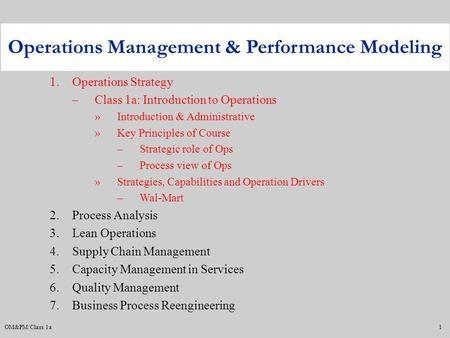 Operations Management & Performance Modeling