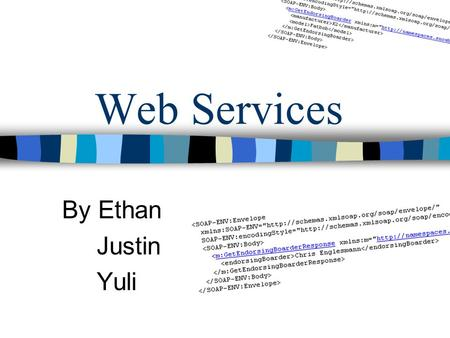 Web Services By Ethan Justin Yuli. Web Services in Action Information through Integration (Google Example)Google Example www.Maps.Google.Com What do Web.
