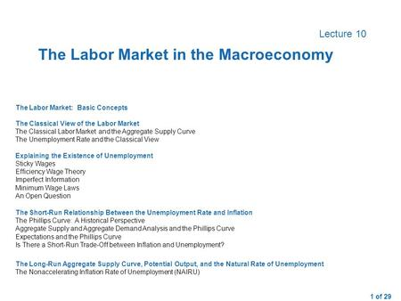 1 of 29 Lecture 10 The Labor Market: Basic ConceptsThe Classical View of the Labor MarketThe Classical Labor Market and the Aggregate Supply CurveThe Unemployment.