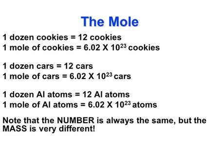 The Mole 1 dozen cookies = 12 cookies 1 mole of cookies = 6.02 X 10 23 cookies 1 dozen cars = 12 cars 1 mole of cars = 6.02 X 10 23 cars 1 dozen Al atoms.
