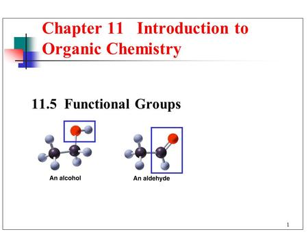 1 11.5 Functional Groups Chapter 11 Introduction to Organic Chemistry.