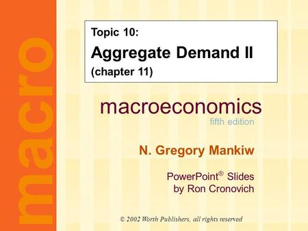 Macroeconomics fifth edition N. Gregory Mankiw PowerPoint ® Slides by Ron Cronovich CHAPTER ELEVEN Aggregate Demand II macro © 2002 Worth Publishers, all.