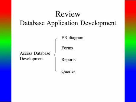 Review Database Application Development Access Database Development ER-diagram Forms Reports Queries.