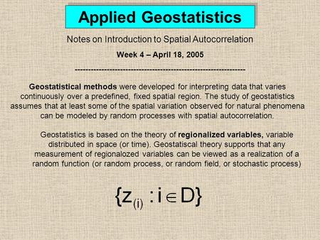 Applied Geostatistics