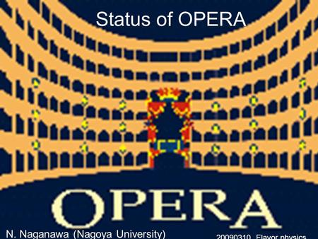 Status of OPERA N. Naganawa (Nagoya University) 20090310 Flavor physics.