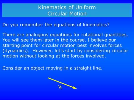 Kinematics of Uniform Circular Motion Do you remember the equations of kinematics? There are analogous equations for rotational quantities. You will see.