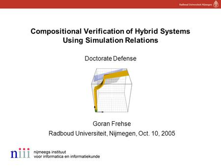 1 Compositional Verification of Hybrid Systems Using Simulation Relations Doctorate Defense Goran Frehse Radboud Universiteit, Nijmegen, Oct. 10, 2005.