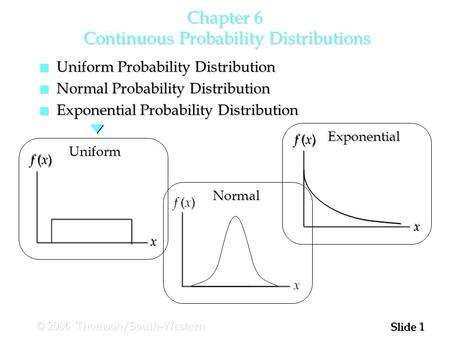 1 1 Slide © 2006 Thomson/South-Western Chapter 6 Continuous Probability Distributions n Uniform Probability Distribution n Normal Probability Distribution.