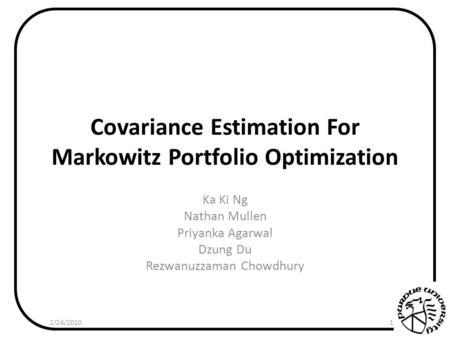 markowitz portfolio optimization essay Portfolio selection harry markowitz the journal of finance, vol 7, no 1 (mar, 1952) is a portfolio which gives both maximum expected return and minimum.