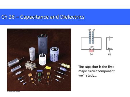 Ch 26 – Capacitance and Dielectrics The capacitor is the first major circuit component we'll study…