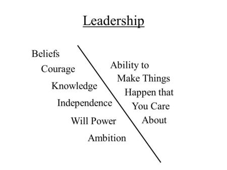 Leadership Courage Beliefs Knowledge Independence Will Power Ambition Make Things Happen that You Care About Ability to.