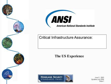 June 9, 2003 Updated July 2004 Slide 1 Critical Infrastructure Assurance: The US Experience.