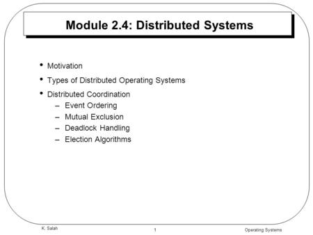 Module 2.4: Distributed Systems
