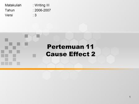 The cause effect essay