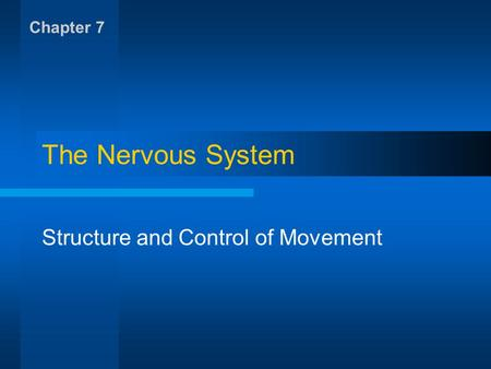 The Nervous System Structure and Control of Movement Chapter 7.