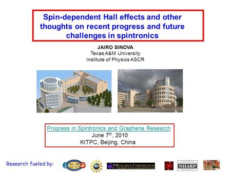 Spin-dependent Hall effects and other thoughts on recent progress and future challenges in spintronics Progress in Spintronics and Graphene Research June.