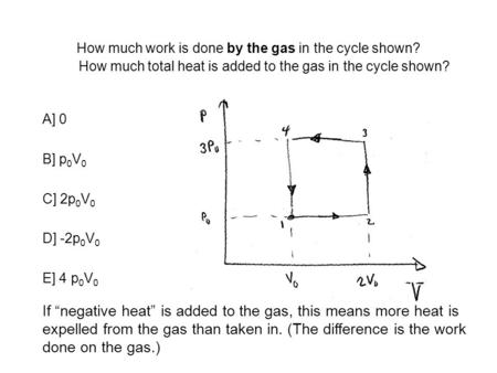 How much work is done by the gas in the cycle shown? A] 0 B] p 0 V 0 C] 2p 0 V 0 D] -2p 0 V 0 E] 4 p 0 V 0 How much total heat is added to the gas in the.