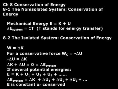 Ch 8 Conservation of Energy