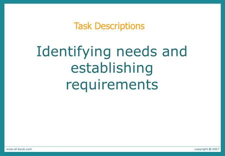 Identifying needs and establishing requirements Task Descriptions.