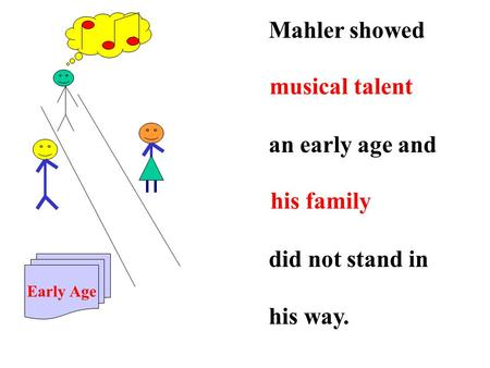 Mahler showed an early age and did not stand in his way. Early Age musical talent his family.