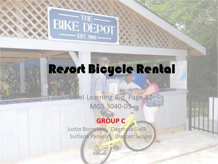 Resort Bicycle Rental Excel Learning Aid Page 87 MGS GROUP C