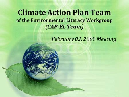 Climate Action Plan Team of the Environmental Literacy Workgroup ( CAP-EL Team) February 02, 2009 Meeting.