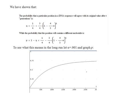We have shown that: To see what this means in the long run let α=.001 and graph p: