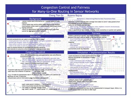 Congestion Control and Fairness for Many-to-One Routing in Sensor Networks Cheng Tien Ee Ruzena Bajcsy Motivation Congestion Control Background Simulation.