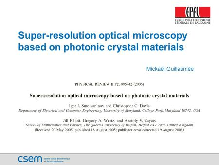 Introduction: Optical Microscopy and Diffraction Limit