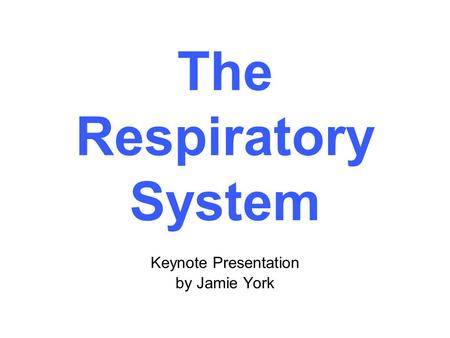 Keynote Presentation by Jamie York The Respiratory System.