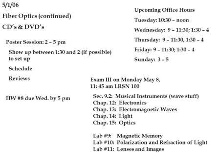 5/1/06 Fiber Optics (continued) CD's & DVD's Poster Session: 2 – 5 pm Show up between 1:30 and 2 (if possible) to set up Schedule Reviews HW #8 due Wed.