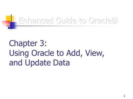 introduction to oracle 9i sql chapter In oracle 9i, the oracle parallel server control structures this chapter teaches about how oracle 9i: pl/sql collections introduction version 80 and.