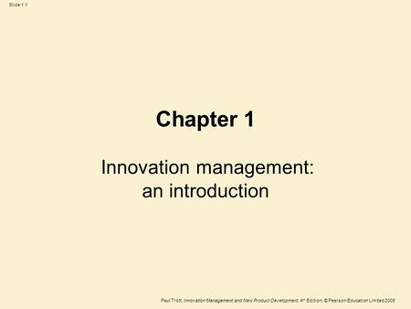 Innovation management: an introduction