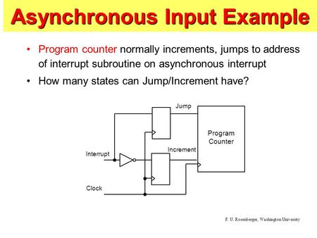 Asynchronous Input Example Program counter normally increments, jumps to address of interrupt subroutine on asynchronous interrupt How many states can.
