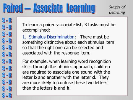 Stages of Learning To learn a paired-associate list, 3 tasks must be accomplished: 1. Stimulus Discrimination: There must be something distinctive about.