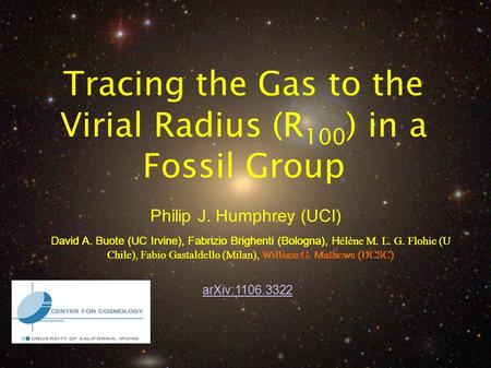 Philip J. Humphrey (UCI) Tracing the Gas to the Virial Radius (R 100 ) in a Fossil Group arXiv:1106.3322 David A. Buote (UC Irvine), Fabrizio Brighenti.