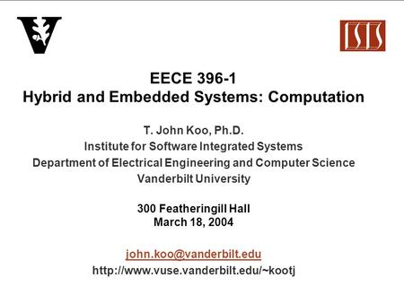 EECE Hybrid and Embedded Systems: Computation