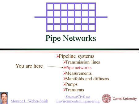 Monroe L. Weber-Shirk S chool of Civil and Environmental Engineering Pipe Networks  Pipeline systems  Transmission lines  Pipe networks  Measurements.