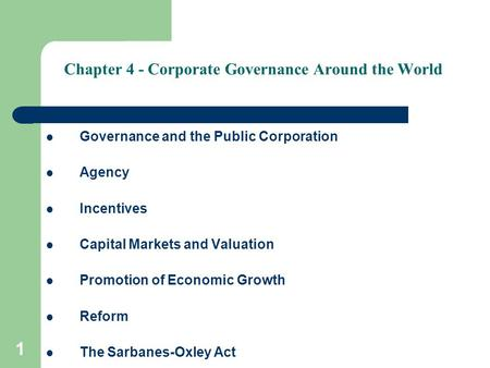 Chapter 4 - Corporate Governance Around the World