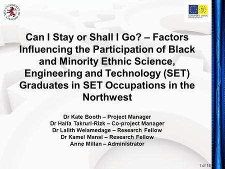 1 of 18 Can I Stay or Shall I Go? – Factors Influencing the Participation of Black and Minority Ethnic Science, Engineering and Technology (SET) Graduates.