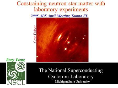 The National Superconducting Cyclotron State University Betty Tsang Constraining neutron star matter with laboratory experiments 2005.
