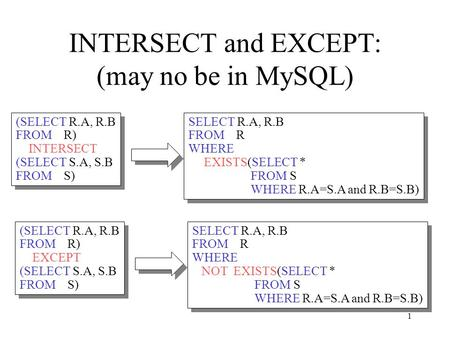 1 INTERSECT and EXCEPT: (may no be in MySQL) (SELECT R.A, R.B FROM R) INTERSECT (SELECT S.A, S.B FROM S) (SELECT R.A, R.B FROM R) INTERSECT (SELECT S.A,