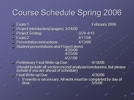 1 Course Schedule Spring 2006 Exam 1 February 2006 Project Introduction(5pages)3/24/06 Project Testing 3/24-4/15 Exam 2 4/11/06 Presentation instructions: