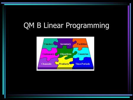 QM B Linear Programming Overview What is linear programming (LP)? Formulating LPs –The Stratton company Graphical insight Using Excel Solver to solve.