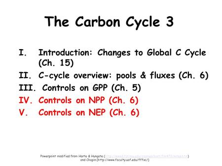 The Carbon Cycle 3 I.Introduction: Changes to Global C Cycle (Ch. 15) II.C-cycle overview: pools & fluxes (Ch. 6) III. Controls on GPP (Ch. 5) IV.Controls.