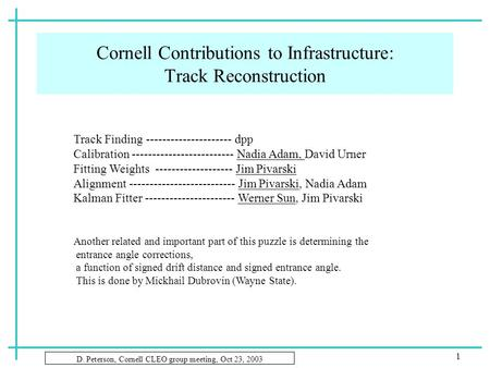 D. Peterson, Cornell CLEO group meeting, Oct 23, 2003 1 Cornell Contributions to Infrastructure: Track Reconstruction Track Finding ---------------------