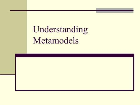 Understanding Metamodels. Outline Understanding metamodels Applying reference models Fundamental metamodel for describing software components Content.