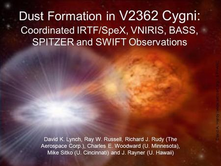 Dust Formation in V2362 Cygni: Coordinated IRTF/SpeX, VNIRIS, BASS, SPITZER and SWIFT Observations David K. Lynch, Ray W. Russell, Richard J. Rudy (The.