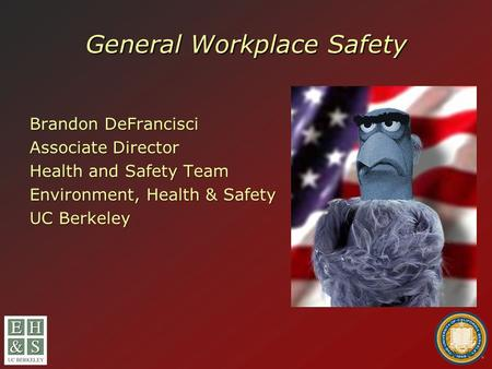 General Workplace Safety Brandon DeFrancisci Associate Director Health and Safety Team Environment, Health & Safety UC Berkeley.
