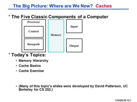 CIS429.00-13.1 °The Five Classic Components of a Computer °Today's Topics: Memory Hierarchy Cache Basics Cache Exercise (Many of this topic's slides were.